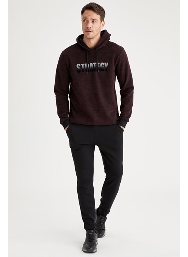 DeFacto Baskılı Regular Fit Bisiklet Yaka Sweatshirt Bordo